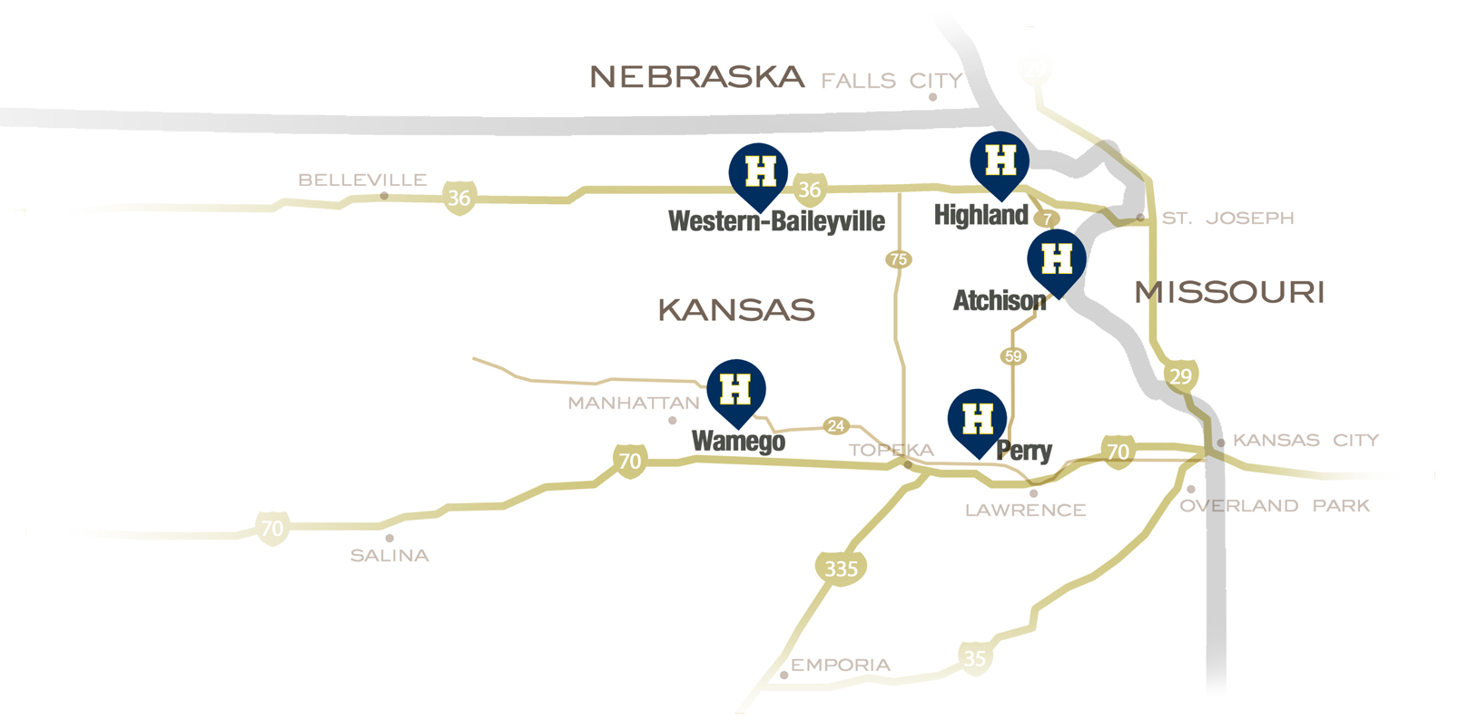 Map of Highland Community College Locations